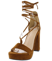 ALMERIA06 TAN OPEN TOE CRISSCROSS LACE UP PLATFORM CHUNKY HEEL - Wholesale Fashion Shoes