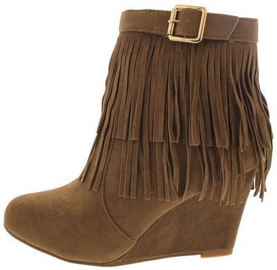 Helpful82 Light Brown Fringe Wedge Boot - Wholesale Fashion Shoes