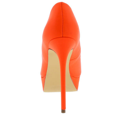 Madison213 Orange Pointed Peep Toe Platform Stiletto Heel - Wholesale Fashion Shoes