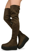 Hersey03th Olive Platform Thigh High Sneaker Boot - Wholesale Fashion Shoes