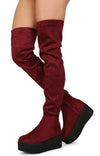 Hersey03th Burgundy Platform Thigh High Sneaker Boot - Wholesale Fashion Shoes