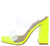 Hester Lime Lucite Dual Strap Open Toe Mule Block Heel - Wholesale Fashion Shoes