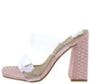 Hester Pink Lucite Dual Strap Open Toe Mule Block Heel - Wholesale Fashion Shoes