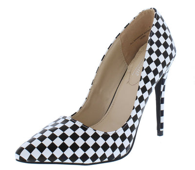 Hibiscus14s Black White Print Pointed Toe Stiletto Heel - Wholesale Fashion Shoes