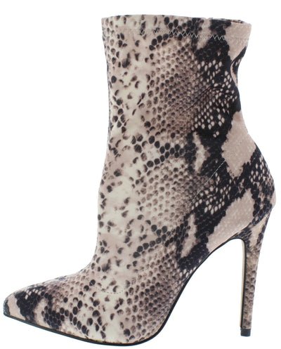 Hibiscus40 Snake Pointed Toe Stiletto Boot - Wholesale Fashion Shoes
