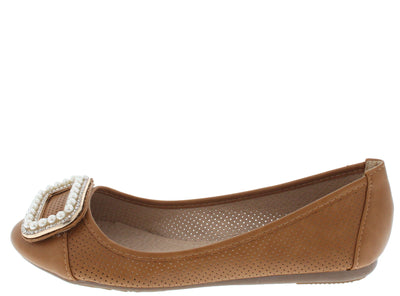 Hicks2 Camel Pearl Rhinestone Flat - Wholesale Fashion Shoes