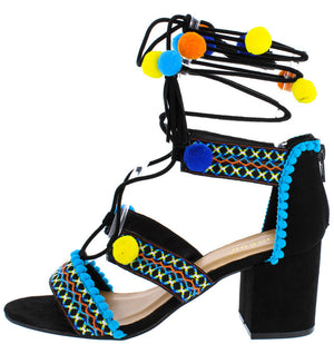 52af0bcd055b5 Highlight32s Black Embroidered Pom Pom Wrap Chunky Heel - Wholesale Fashion  Shoes