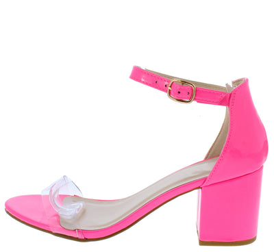 Highlight74 Neon Pink Lucite Open Toe Short Block Heel - Wholesale Fashion Shoes