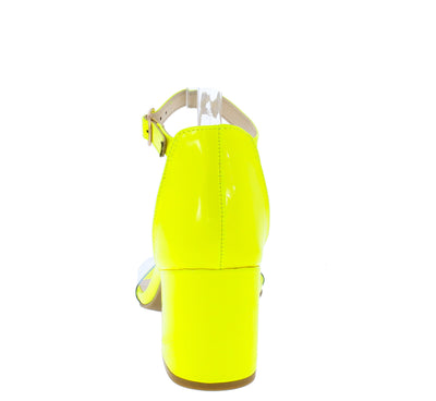 Highlight74 Neon Yellow Lucite Open Toe Short Block Heel - Wholesale Fashion Shoes