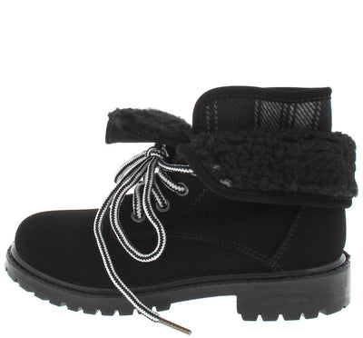 Hike02k Black Foldover Fleece Kids Boot - Wholesale Fashion Shoes