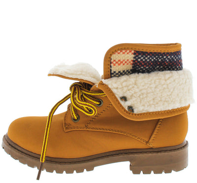 Hike02k Honey Wheat Foldover Fleece Kids Boot - Wholesale Fashion Shoes