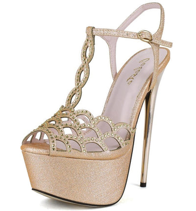 Hilary02 Gold Metallic Rhinestone T-strap Heel - Wholesale Fashion Shoes