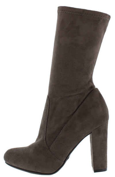 Hilltop40m Grey Suede Mid Calf Almond Toe Boot - Wholesale Fashion Shoes