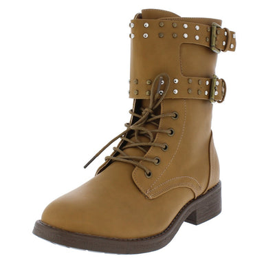 Jocelyn157 Tan Studded Lace Up Combat Boot - Wholesale Fashion Shoes