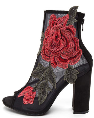 3773b9cd725 Anna105 Black Embroidered Rose Mesh Peep Toe Ankle Boot - Wholesale Fashion  Shoes