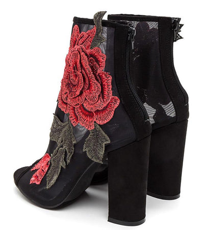 Anna105 Black Embroidered Rose Mesh Peep Toe Ankle Boot - Wholesale Fashion Shoes