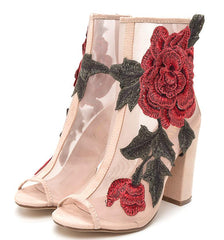 Anna105 Nude Embroidered Rose Mesh Peep Toe Ankle Boot - Wholesale Fashion Shoes