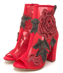 Anna105 Red Embroidered Rose Mesh Peep Toe Ankle Boot - Wholesale Fashion Shoes