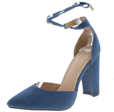 Emery080 Denim Pointed Toe Ankle Wrap Chunky Heel - Wholesale Fashion Shoes