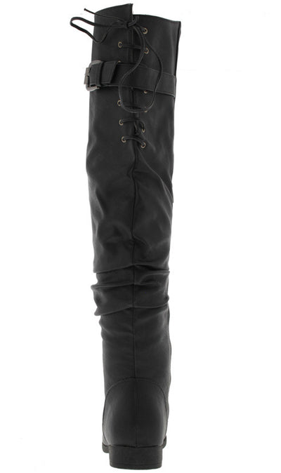 Holly1 Black Over the Knee Lace Up Back Boot - Wholesale Fashion Shoes