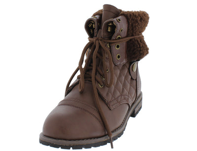 Holly9 Brown Diamond Quilted Lace Up Fold Over Snap Lug Sole Ankle Boot - Wholesale Fashion Shoes
