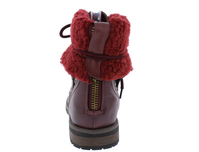 Holly9 Wine Diamond Quilted Lace Up Fold Over Snap Lug Sole Ankle Boot - Wholesale Fashion Shoes