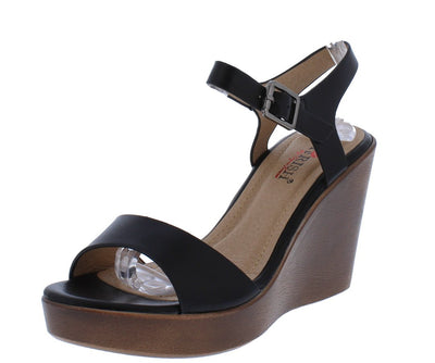 Hollyn1 Black Open Toe Cut Out Ankle Strap Wood Wedge - Wholesale Fashion Shoes