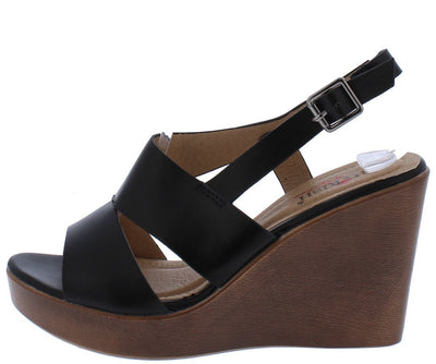 Hollyn3 Black Open Toe Cut Out Slingback Wood Wedge - Wholesale Fashion Shoes