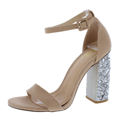 Hollywood Camel Suede Open Toe Ankle Strap Jeweled Heel - Wholesale Fashion Shoes