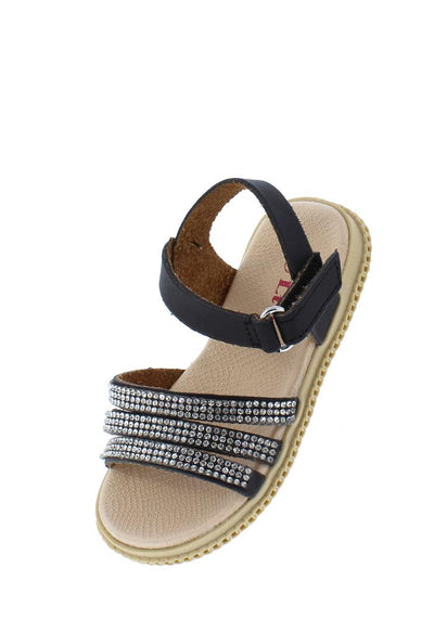 Holy39ka Black Rhinestone Strappy Open Toe Infants Sandal - Wholesale Fashion Shoes