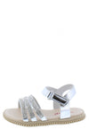 Holy39ka Silver Rhinestone Strappy Open Toe Infants Sandal - Wholesale Fashion Shoes