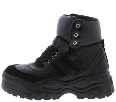 Homerun Black Chunky Lace Up Sneaker Boot - Wholesale Fashion Shoes