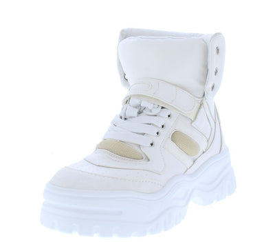 Homerun White Chunky Lace Up Sneaker Boot - Wholesale Fashion Shoes