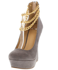 BRUCE GREY FAUX SUEDE CHAIN ANKLE WEDGE - Wholesale Fashion Shoes