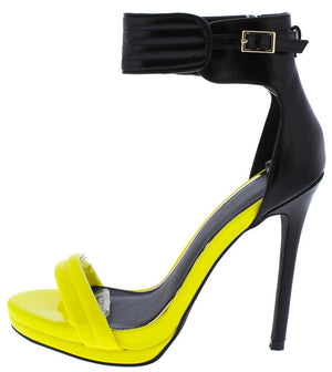 44c6823360 Everly093 Black Yellow Open Toe Ankle Strap Stiletto Heel - Wholesale  Fashion Shoes