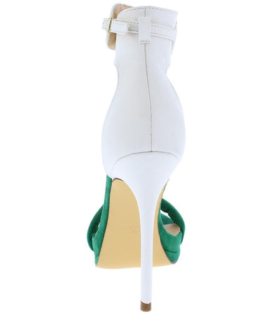 Everly093 Green White Open Toe Ankle Strap Stiletto Heel - Wholesale Fashion Shoes