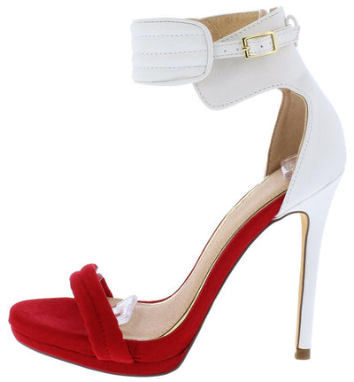 Everly093 White Red Open Toe Ankle Strap Stiletto Heel - Wholesale Fashion Shoes