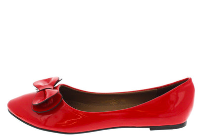 Hook Red Patent Almond Toe Bow Flat - Wholesale Fashion Shoes