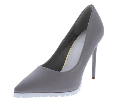 Riley171 Grey Pointed Toe Lug Sole Stiletto Heel - Wholesale Fashion Shoes