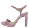 Hurst31 Ash Lilac Square Open Toe Ankle Strap Block Heel - Wholesale Fashion Shoes