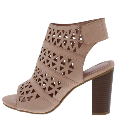 Hush03 Pink Open Toe Laser Cut Rear Cut Out Stacked Heel - Wholesale Fashion Shoes