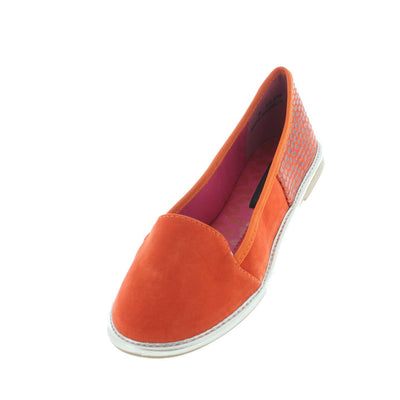 Impulsive Orange Snakeskin Loafer Flat - Wholesale Fashion Shoes