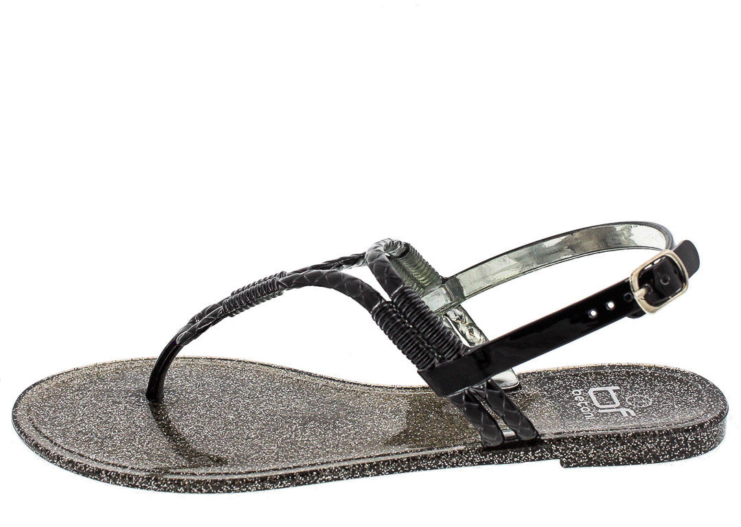 Sandals and shoes wholesale - Isabella6 Black Metallic Rope Jelly Sandal Wholesale Fashion Shoes