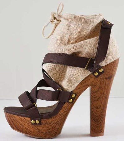Iselin11 Beige Drawstring Strappy Wood Platform Heel - Wholesale Fashion Shoes
