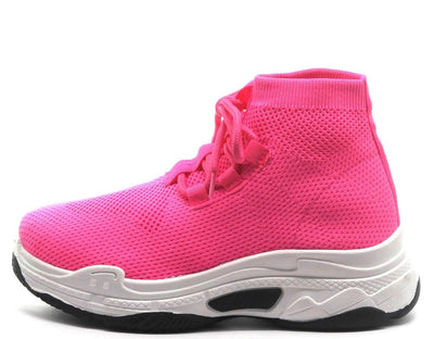 Its Real Pink Mesh Knit Lace Up Sneaker Boot - Wholesale Fashion Shoes