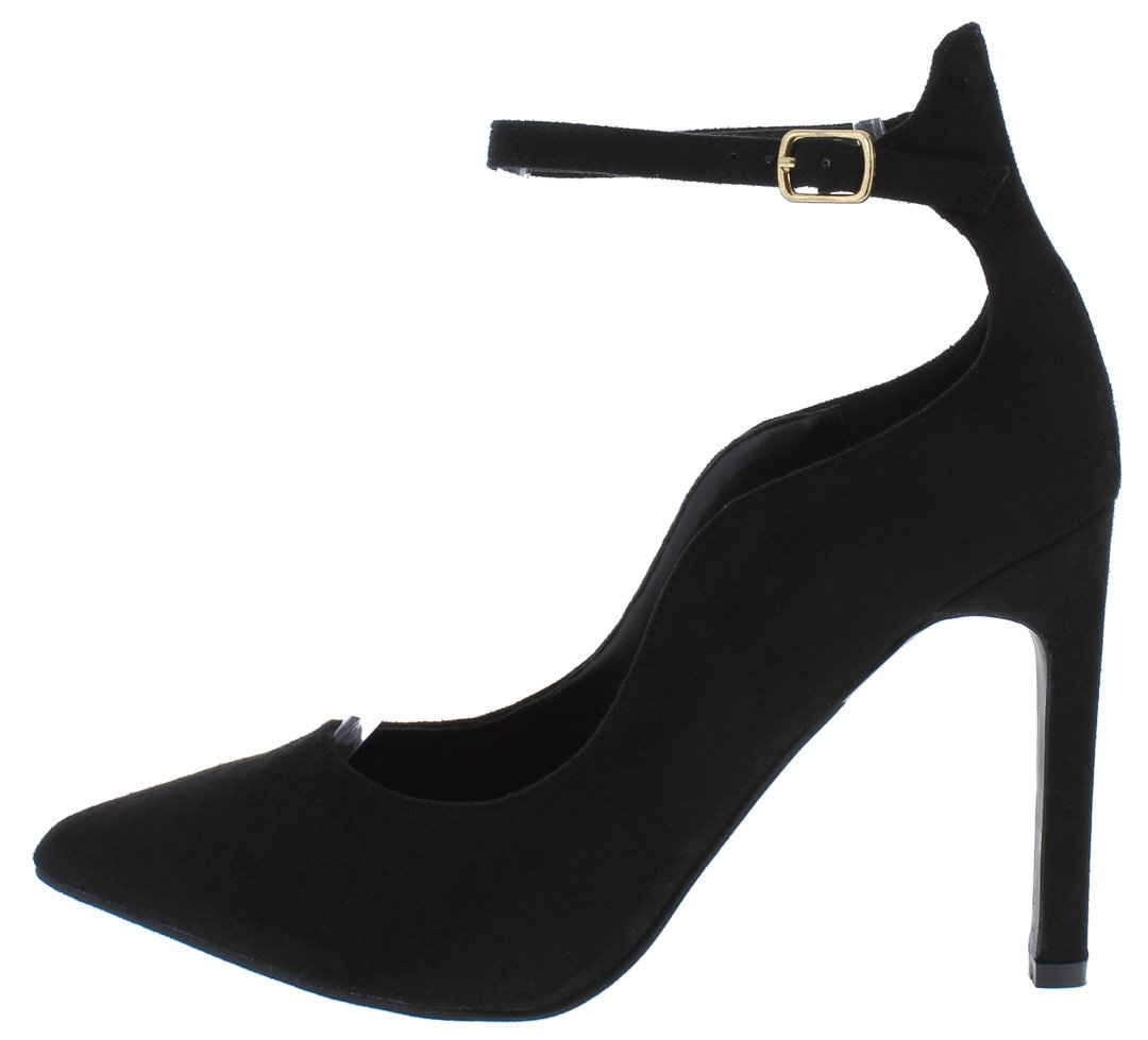 6ee5649b853 Ica1 Black Curved Pointed Toe Ankle Strap Stiletto Heel - Wholesale Fashion  Shoes