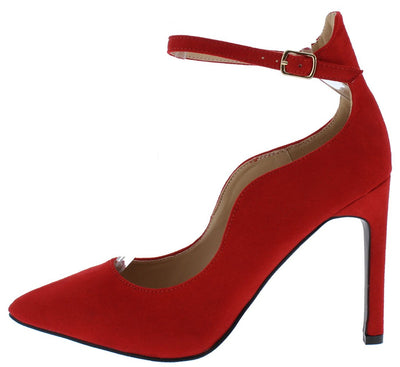 Ica1 Red Pointed Toe Ankle Strap Stiletto Heel - Wholesale Fashion Shoes