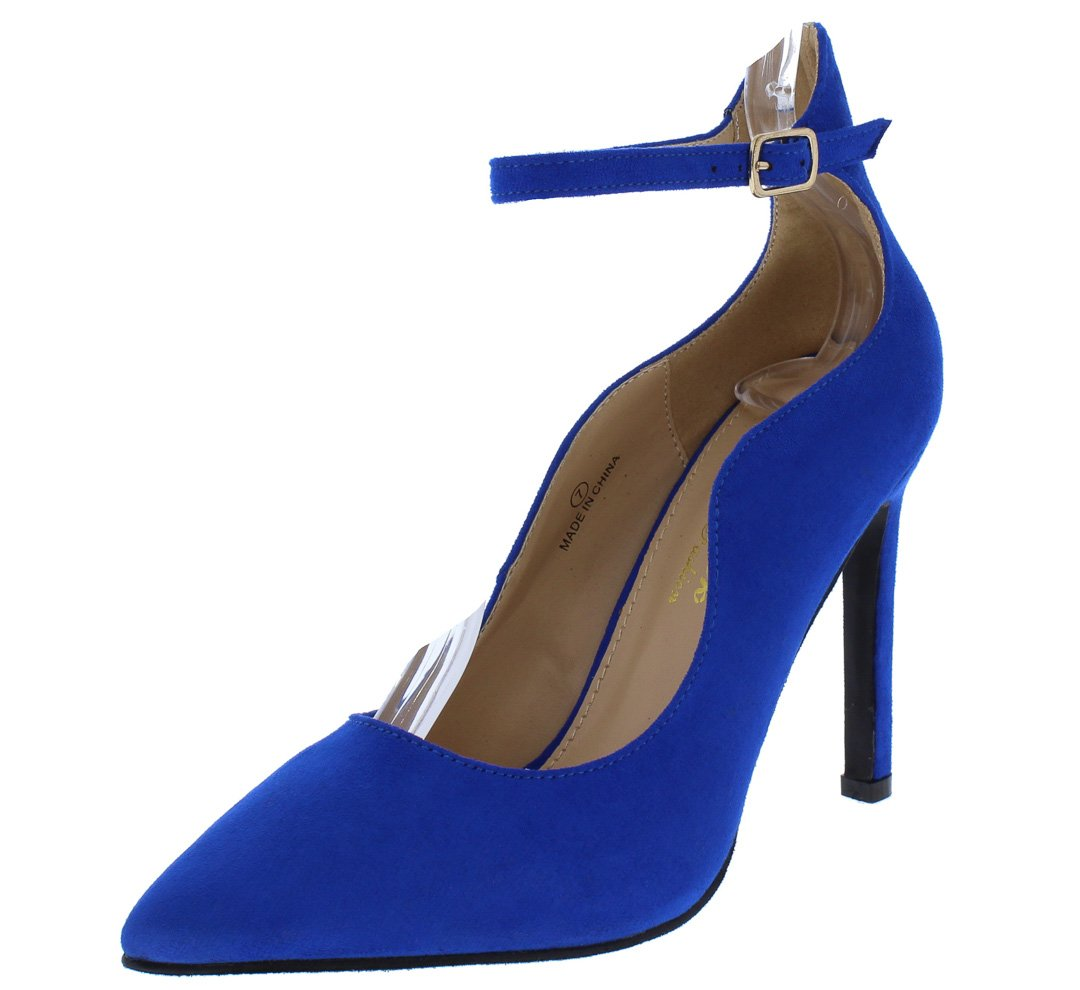 5578b1b3ee2 Ica1 Royal Blue Pointed Toe Ankle Strap Stiletto Heel - Wholesale Fashion  Shoes
