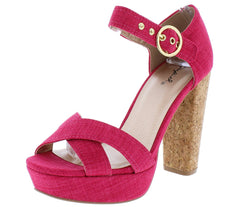 Iconic14 Fuchsia Fabric Cross Strap Platform Cork Heel - Wholesale Fashion Shoes
