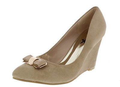 Ida03 Taupe Almond Toe Metallic Bow Slide on Wedge - Wholesale Fashion Shoes